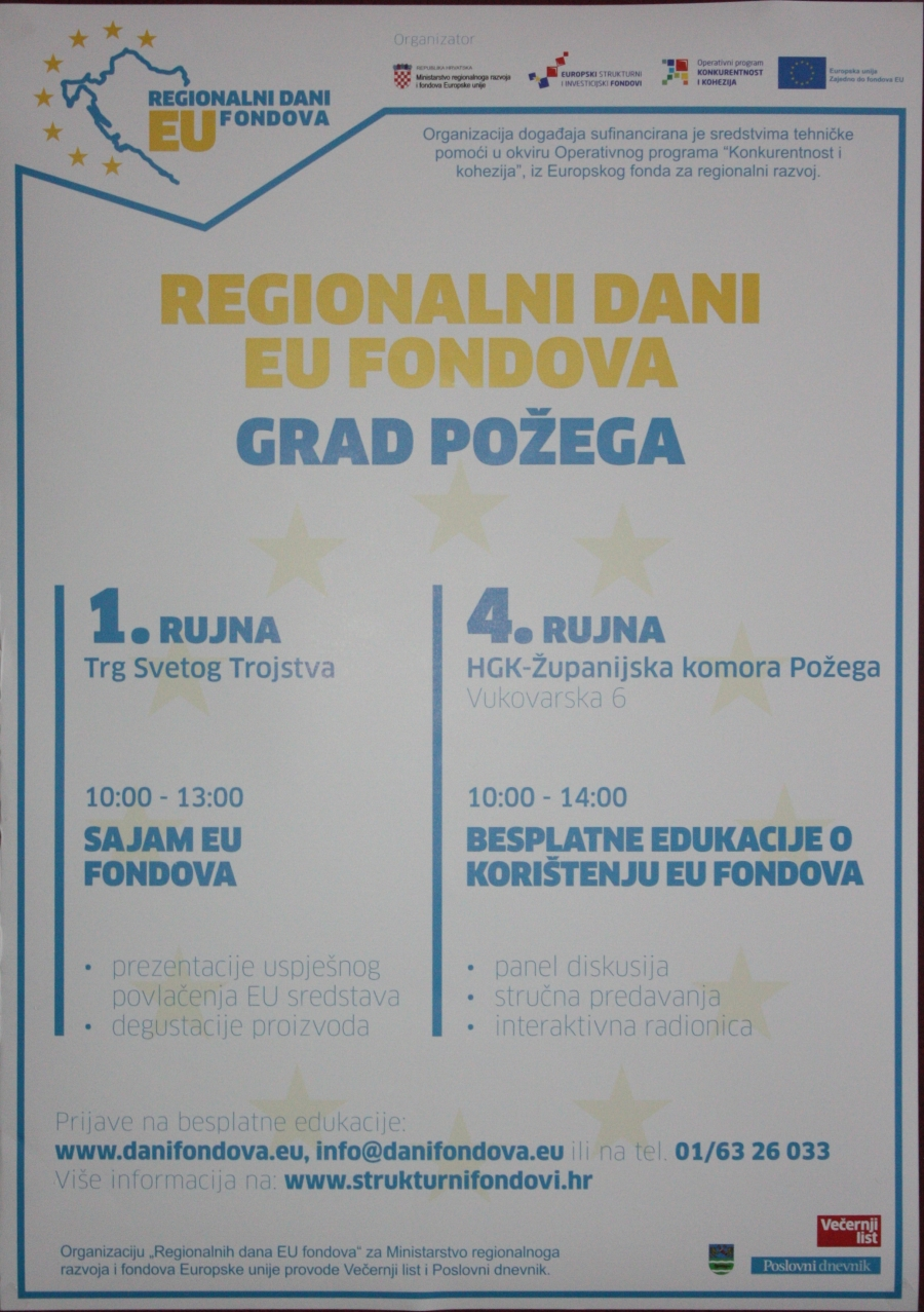 Regionalni dani EU fondova 1. i 4. rujna