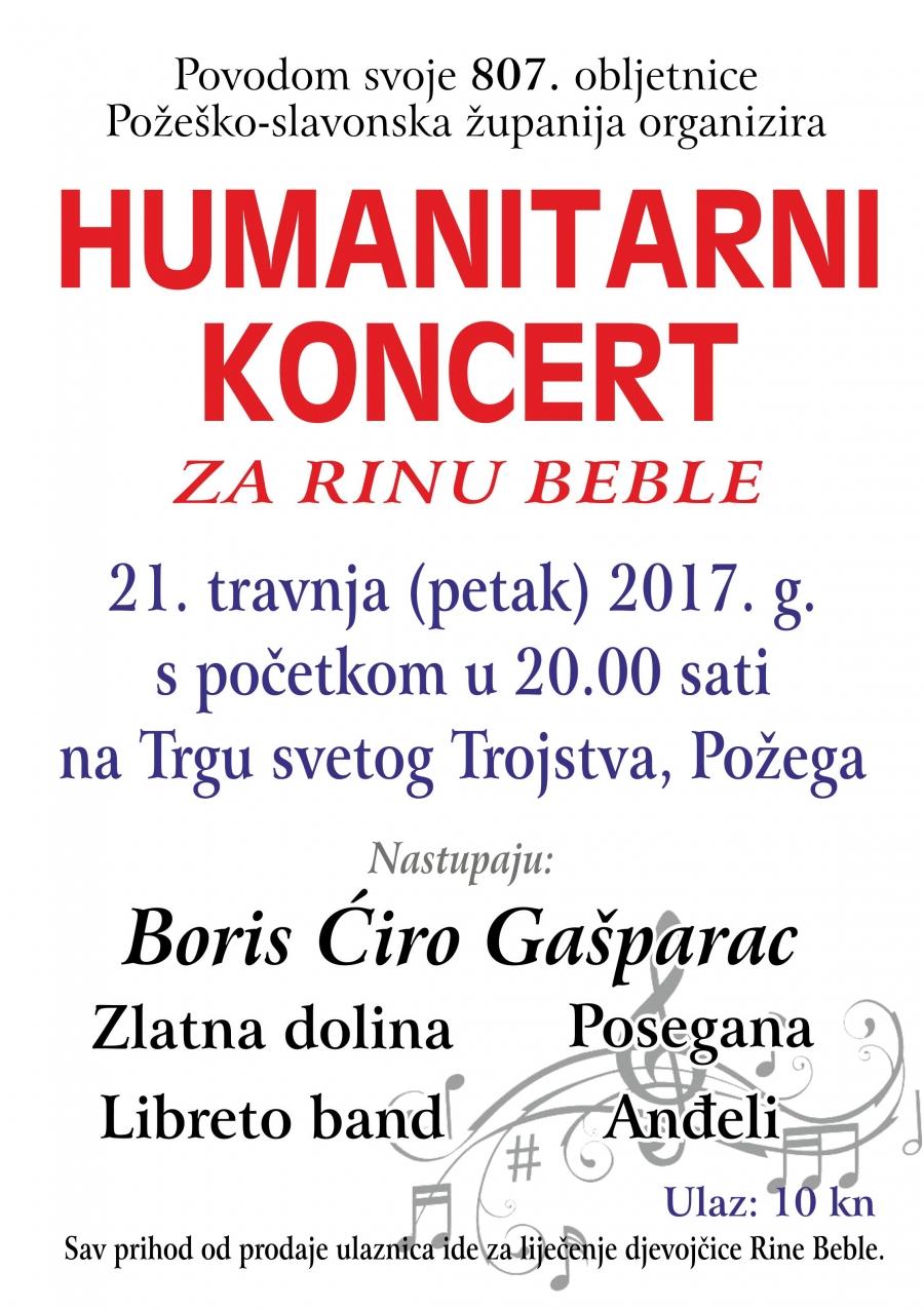 Požeško-slavonska županija organizira veliki humanitarni koncert za Rinu Beble